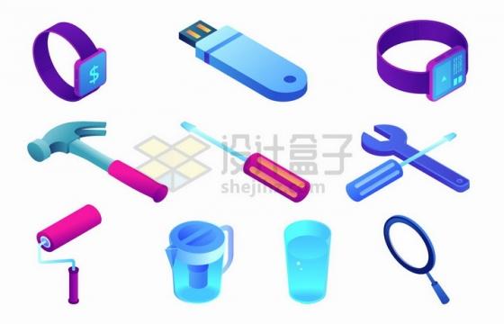 2.5D风格智能手表U盘锤子螺丝刀扳手水杯等用品png图片免抠矢量素材