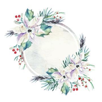 水彩画风格淡紫色的花朵和树叶装饰的圆形边框文本框图片免抠矢量素材