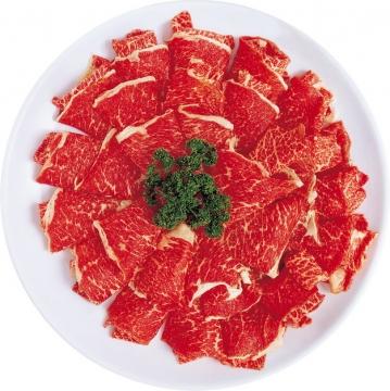 盘中的雪花牛肉和牛肉片896184png图片素材