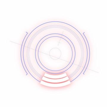 蓝色线条淡粉色光芒圆环装饰png图片免抠矢量素材
