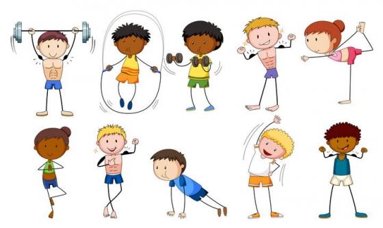 可爱风格健身的卡通小人儿免抠矢量图片素材