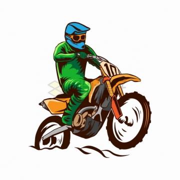 绿色衣服的骑手骑越野摩托车特技表演卡通漫画插画png图片素材