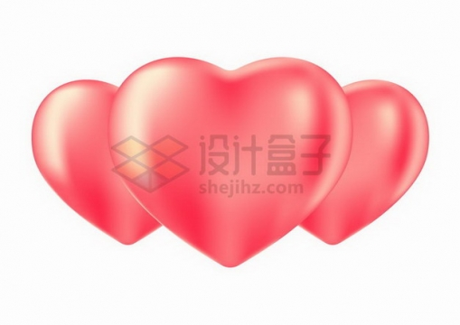 三颗摆放整齐的心形红心png图片免抠矢量素材