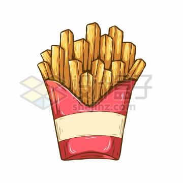 肯德基薯条美味快餐彩绘插画png图片免抠矢量素材