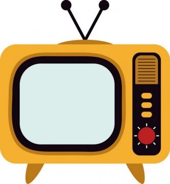 黄色可爱卡通小电视机图片免抠素材