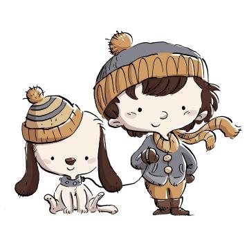 手绘插画风格正在遛狗的卡通小男孩图片免抠素材