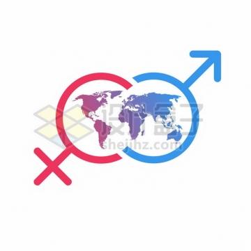 世界地图和男性女性符号象征了男女平等903550png矢量图片素材