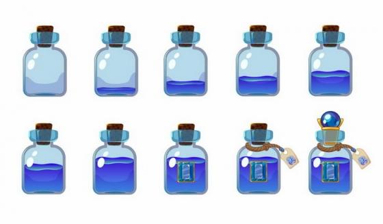 10种卡通游戏中的蓝色药水瓶png图片免抠矢量素材