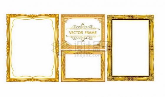 4种复古风格雍容华贵的金色相框边框126531png矢量图片素材