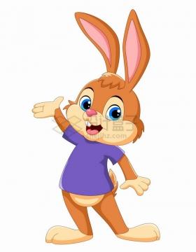 紫色衣服的小兔子可爱卡通动物png图片免抠矢量素材