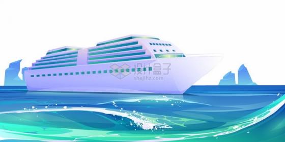 蔚蓝色大海上的邮轮游轮卡通插画png图片素材