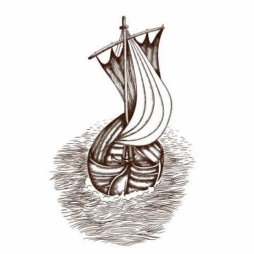 手绘素描风格大海上的帆船风景图png图片免抠矢量素材