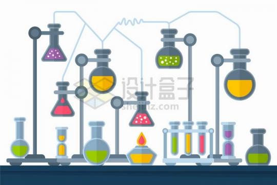 灰色卡通化学实验仪器装置png图片免抠矢量素材