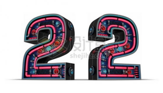 C4D风格红色霓虹灯管3D立体数字二2艺术字体927463psd/png图片素材