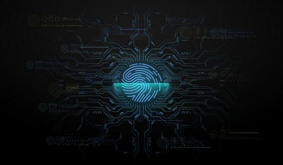 蓝色科幻风格指纹识别指纹解锁电路图片免抠矢量素材