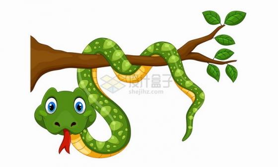 缠绕在树枝上的青蛇可爱卡通动物png图片免抠矢量素材
