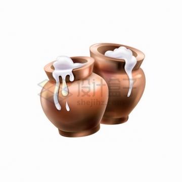 牛奶流出来的瓦罐陶瓷罐png图片素材