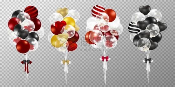 4款彩色红色黑色婚礼气球117167png矢量图片素材