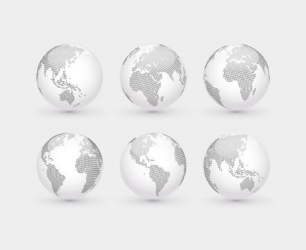 6个不同角度的小黑点组成的地球图片免抠矢量素材