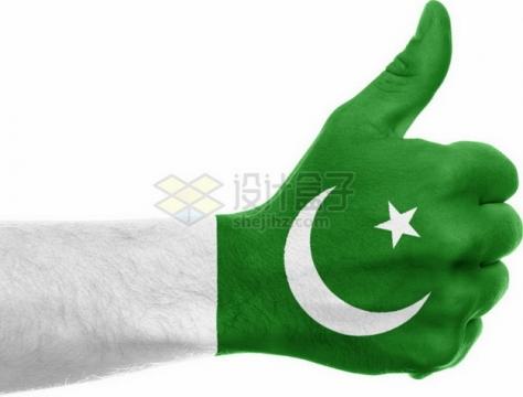 印有巴基斯坦国旗图案的点赞手势png免抠图片素材