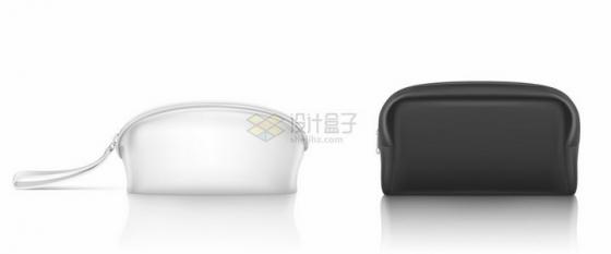 黑色白色两款带拉链的化妆袋钱包png图片素材