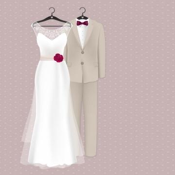 结婚婚礼上的新娘和新郎的婚纱与西装png图片免抠矢量素材