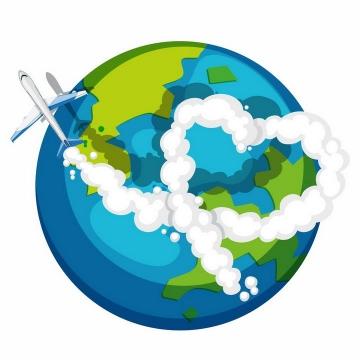 卡通环绕地球飞行的大型客机飞机png图片免抠矢量素材