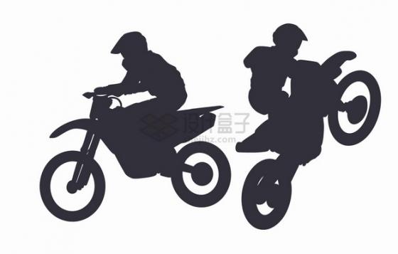 2款越野摩托车特技表演剪影png图片素材
