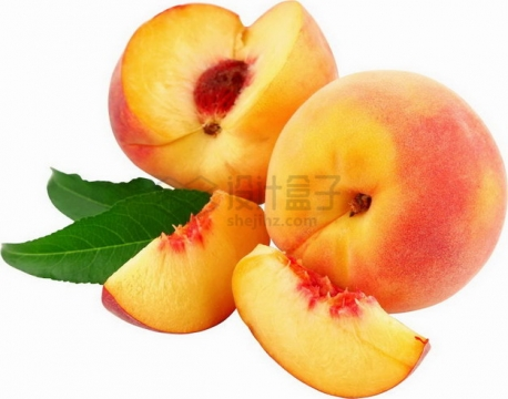 切开的桃子阳山水蜜桃png图片素材