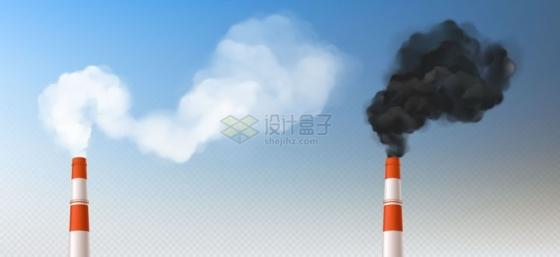 冒着黑色和白色浓烟的烟囱烟雾效果png图片素材