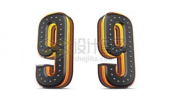 C4D风格黄色黑色3D立体数字九9艺术字体562155psd/png图片素材