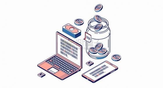 笔记本电脑美元钞票手机和玻璃瓶中的金币投资理财MBE风格插画png图片素材
