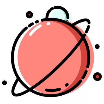 MBE风格粉色的卡通星球天文类图片免抠素材