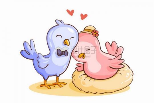 可爱恩爱的卡通小鸟情侣情人节png图片免抠矢量素材