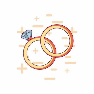 扁平化风格结婚钻石金戒指png图片免抠矢量素材