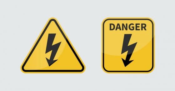 三角形和正方形小心带电小心有电小心触电提示牌警告标志警示标牌图片免抠矢量素材