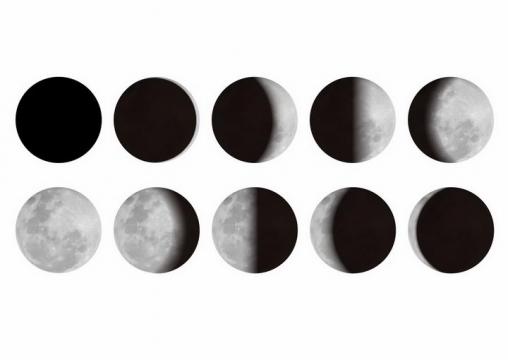 真实月相变化图月球月亮明暗交替变化科普配图png图片免抠矢量素材