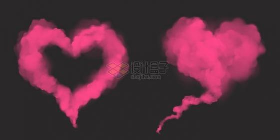 红色烟雾组成的2款心形图案png图片素材