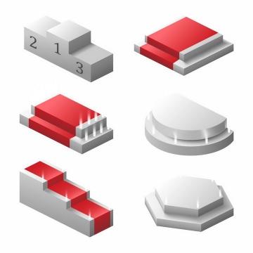 6款空白的名次排名台阶展台领奖台png图片免抠矢量素材
