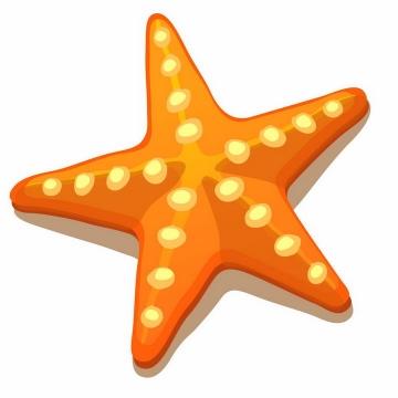 橙色的卡通海星海洋生物png图片免抠矢量素材
