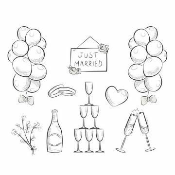 手绘线条素描风格的气球香槟酒戒指等结婚用品png图片免抠矢量素材