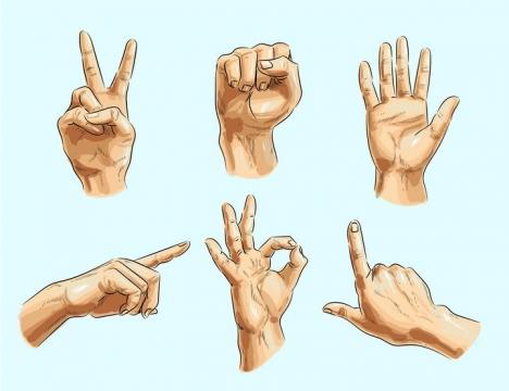 6款彩绘风格用手势表示数字剪刀石头布图片免抠矢量素材