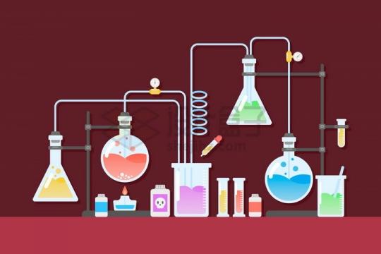扁平化卡通锥形瓶烧杯酒精灯等化学实验仪器组合装置png图片免抠矢量素材