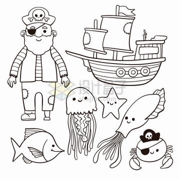 卡通海盗老船长帆船章鱼乌贼简笔画儿童插画png图片免抠矢量素材