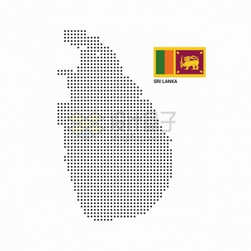 黑色圆点组成的斯里兰卡地图和国旗图案png图片素材