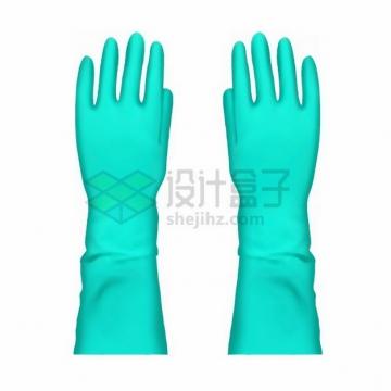蓝绿色的橡胶手套png免抠图片素材