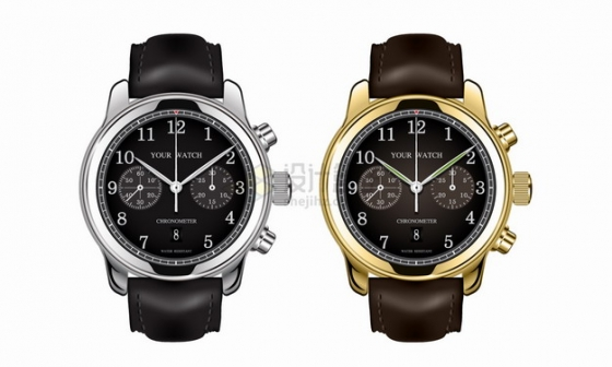 两款皮革表带的银色金色机械手表png图片素材