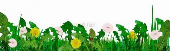 绿色草丛中点缀的黄色粉色小花png图片免抠矢量素材