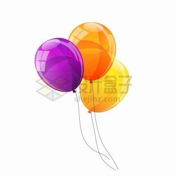 紫色橙色和黄色反光光泽的彩色气球png图片免抠矢量素材