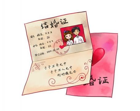 卡通手绘结婚证红本本244708png图片素材